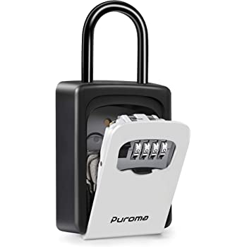 Puroma Key Lock Box Waterproof Combination Lockbox Portable Resettable Wall Mounted & Hanging Key Safe Lock Box for House Keys, Realtors, Garage Spare, Black & Gray