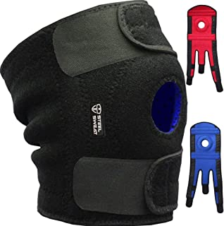 Steel Sweat Knee Brace Support Protector Relieves Joint Pain, Arthritis, Patella Tendonitis, Mensicus Tear, ACL Lateral & Medial Ligament Sprains - Stabilize Your Knee - True Non-Slip Grip