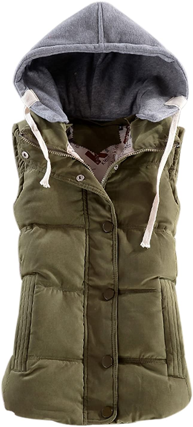 Yeokou Women's Slim Sleeveless Quilted Removable 100% quality warranty! P Hooded Winter Ranking TOP7