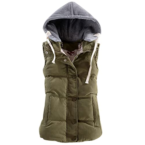 525e4f3a1d10 Yeokou Women s Slim Sleeveless Quilted Removable Hooded Winter Puffer Vest  Coat