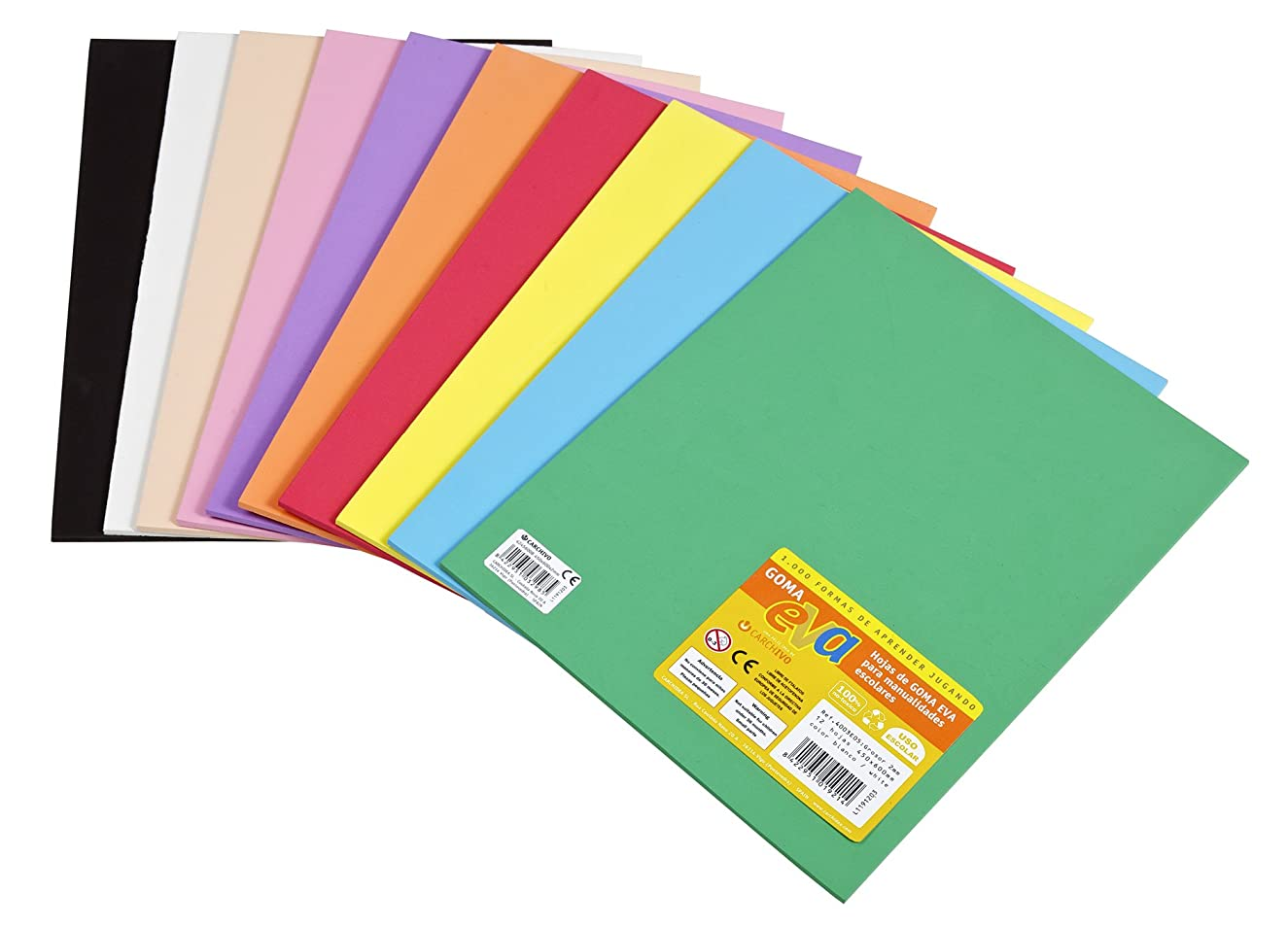 Carchivo 133319 - Pack 10 Eva Foam Sheets 2mm 220X295, Assorted Colours