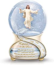 The Bradford Exchange Footprints in The Sand Musical Glitter Globe with Sculptural Jesus Figure