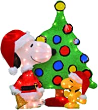 ProductWorks 32-Inch Peanuts 3-Piece Set 2D LED Pre-Lit Santa Snoopy and Woodstock Tree Christmas Yard Art, 70 Lights