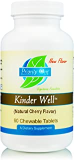 Priority One Vitamins Kinder Well Natural Cherry Flavor 60 Chewable Tablets - Immune System Support.* Great for Those Unable to Swallow Capsules or Tablets!