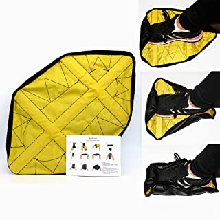 OkyRie Step in Sock Shoe Covers, Hand Free Resuable Shoe Covers, Washable for Floor Protector Home Workers(1 Pair Yellow)