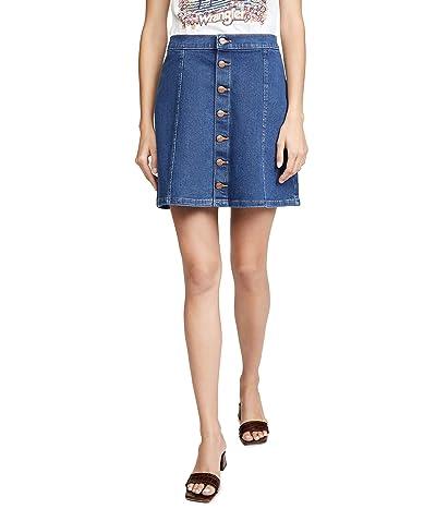 Wrangler High Rise Retro Button Front Denim Mini Skirt