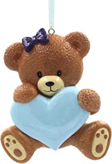 SMYER Baby's First Christmas Ornaments 2019,Family Personalize Christmas Ornament, Free Pen Included with Gift Box, Made of Resin (Bear Blue)
