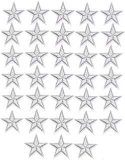 33 Pieces Assorted Colors Small 5 Star Iron on Patches Sew Embroidered Patches Appliques Embellishments for Clothing Jackets Backpack Repairing Decorations (Silver)
