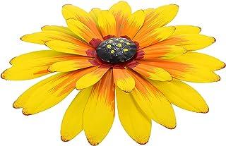 VOSAREA 2Pcs Metal Flower Wall Art Iron Flower Sunflower Sculpture Hanging Decoration Wall Art for Home Yard Garden Ornament