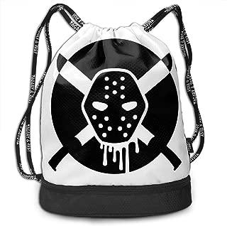 Black And White Hockey Mask Serial Killer Large Size Drawstring Backpack Foldable Multifunction Bundle Bag Sport Waterproof Backpack
