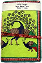 Rastogi Handicrafts Handmade Paper Diary Lokta Paper eco friendly paper Dancing Peacock Green Size - 6x4 Inch