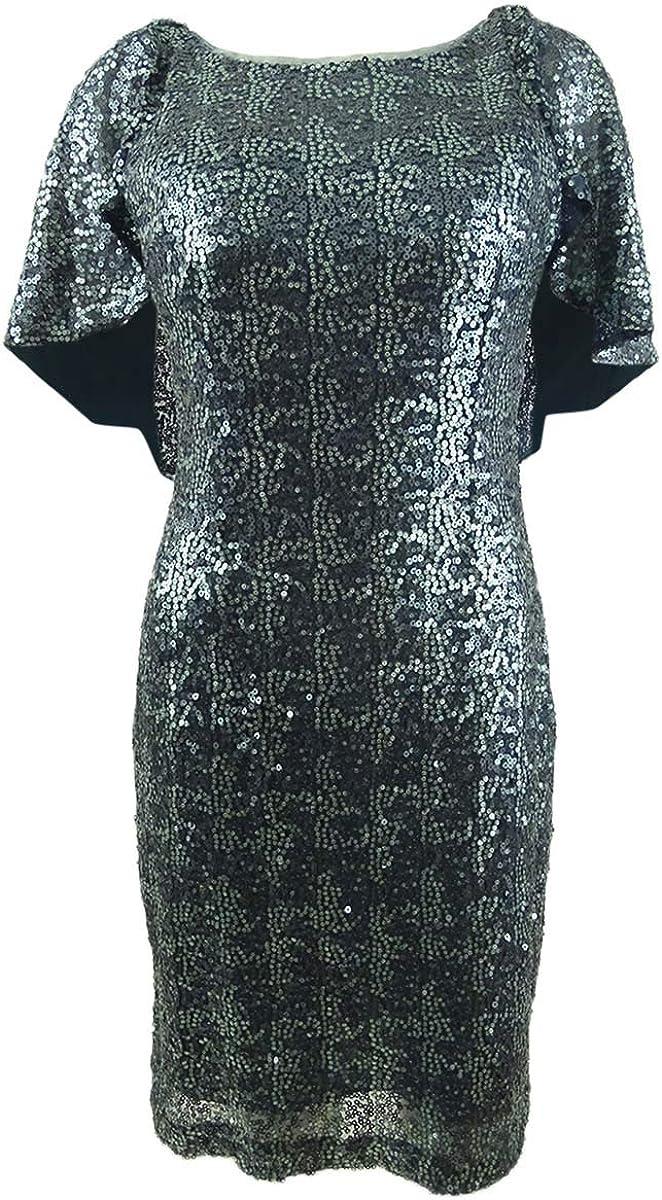 Alex Evenings Women's Petite Embellished Capelet Dress (14P, Vintage Teal)