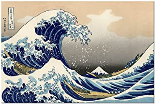 Wieco Art Great Wave of Kanagawa Katsushika Hokusai Modern Stretched and Framed Canvas Prints Artwork Abstract Landscape Pictures Paintings on Canvas Wall Art for Home Office Decorations Wall Decor