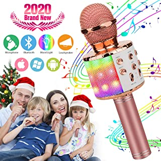 Wireless Karaoke Microphone for Kids, Kids Microphone Bluetooth Child Echo Mic Portable Karaoke Machine Cordless with Speaker for Boys Girls Adult Party Music Singing Android iOS Phones
