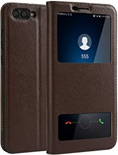 Leather Case Compatible with Huawei Honor View 10 / Honor V10,Genuine Leather Ultra Thin Flip Dual Window View Stand Feature Case Cover Phone case (Color : Brown)