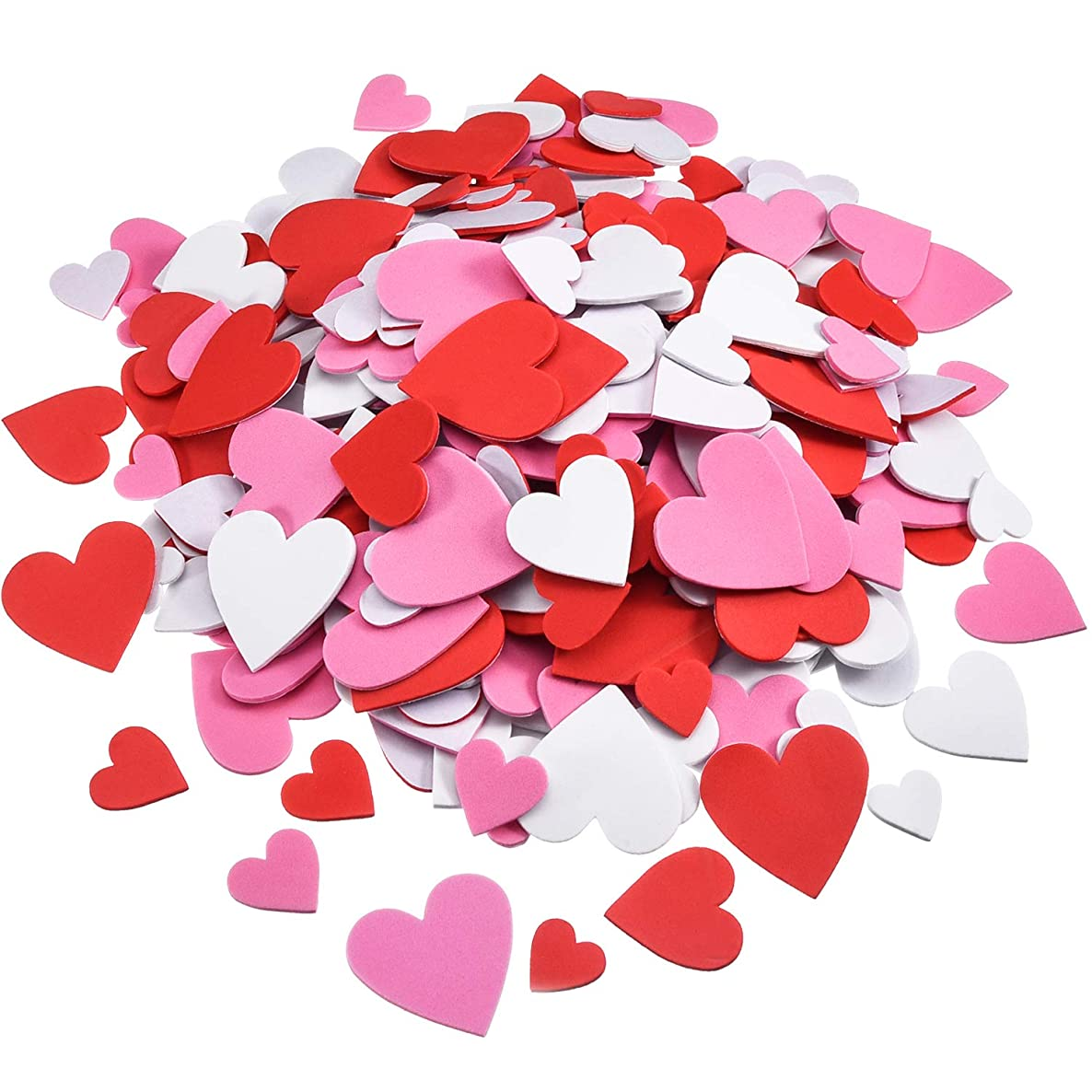 WILLBOND Foam Heart Stickers Foam Hearts Self Adhesive Stickers Hearts for Valentine's Day Mother's Day DIY Crafts, Assorted Size, 3 Colors (300) lxvvdwvrdqysw2