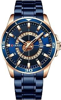Andoer Men Watches Waterproof Analog Quartz Watch Business Stainless Steel Band Calendar Wrist Watch