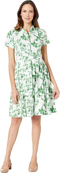 Leaf Printed Button Front Poplin Dress