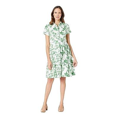Donna Morgan Leaf Printed Button Front Poplin Dress (White/Agave Green Multi) Women