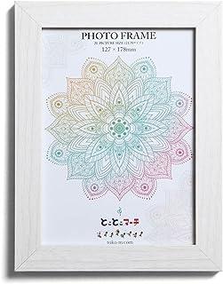 ホワイトウッド 2L判サイズ ナチュラルな木目プリントシートフレーム 写真立て 写真フレーム 壁掛け フォトフレーム 木製 額縁 写真入れ ガラス使用