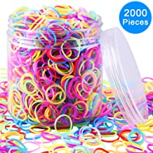 EAONE 2000 Pieces Multi-color Rubber Bands Small Candy Color Hair Bands Hair Elastic with Free Box for Baby Girls