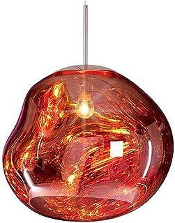 Moderne Lave Suspension Luminaire Verre, Abajour Plafond Irrégulier boule Verre Lampe, Rose Gold Ampoule LED base E27, Cou...