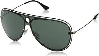 RB3605N Aviator Sunglasses, Shiny Black On Gold/Dark Green, 32 mm