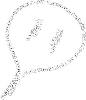 Charles Delon Women Cubic Zirconia Necklace, Earrings Bijoux