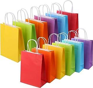 کیسه های مورد علاقه حزب رنگین کمان کاغذی 24 پارچه کرافت با رنگ های متنوع دسته دار (رنگین کمان)