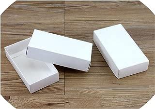 see something 10 Sizes Kraft Black White Gift Packaging Box Kraft Blank Carton Paper Gift Paper Box with Lid Gift Carton Cardboard Box,White,170X90X38Mm