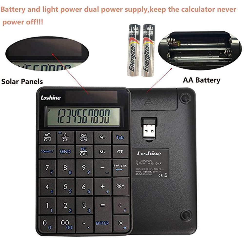 Black PC Notebook 2.4GHz Wireless Number Pad and Mouse Combo Vansungs 18-Key USB Numeric Keypad and Mouse for Laptop