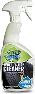 Green Wash 3 Wheel & Tire Cleaner Limpiador para Llantas, Rines, Guardafangos, Estribos y Partes de Suspensión. Ecológico Sin Usar Agua NO Ácido. 1 litro