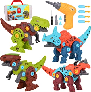 Take Apart Dinosaur Toys with Electric Drill for Kids,4 Pack Dinosaur Building Toy Set with Tools DIY Construction Play Ki...