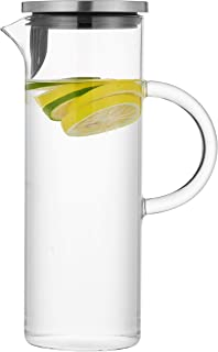 50 Ounces Glass Pitcher with Handle and Lid, Handmade Water Jug for Hot/Cold Water, Ice Lemon Tea and Juice Beverage