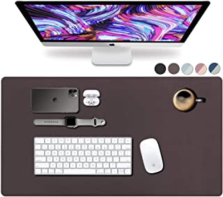 """Leather Desk Pad 36"""" x 20"""", Vine Creations Office Desk Mat Waterproof Dark Brown, Mouse Pad and Writing Surface, Top of De..."""