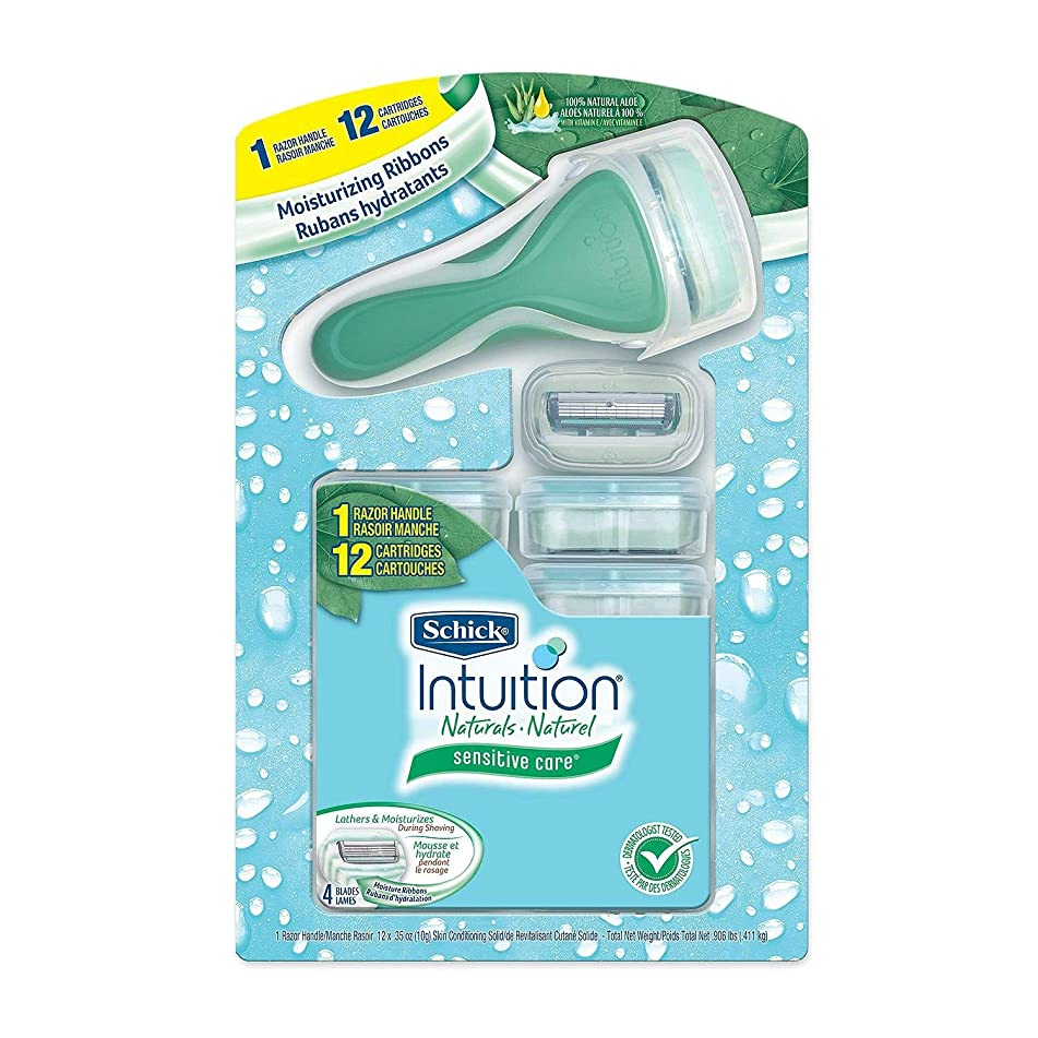 Schick Intuition Naturals Sensitive Care with aloe, 12 Cartridges + 1 Razor Handle