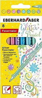 Eberhard Faber 551009 flamastry brokatowe w pastelowych kolorach w pudełku kartonowym, 8 sztuk, kolorowe