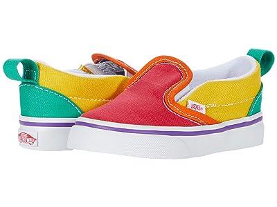Vans Kids Slip-On V (Infant/Toddler) ((Rainbow Color-Block) Multi/True White) Kids Shoes