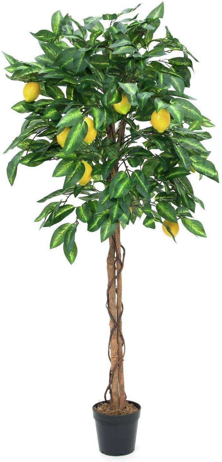 artplants.de Limonero, Tronco Natural, 1000 Hojas, 150cm - Planta Decorativa - Limón sintética