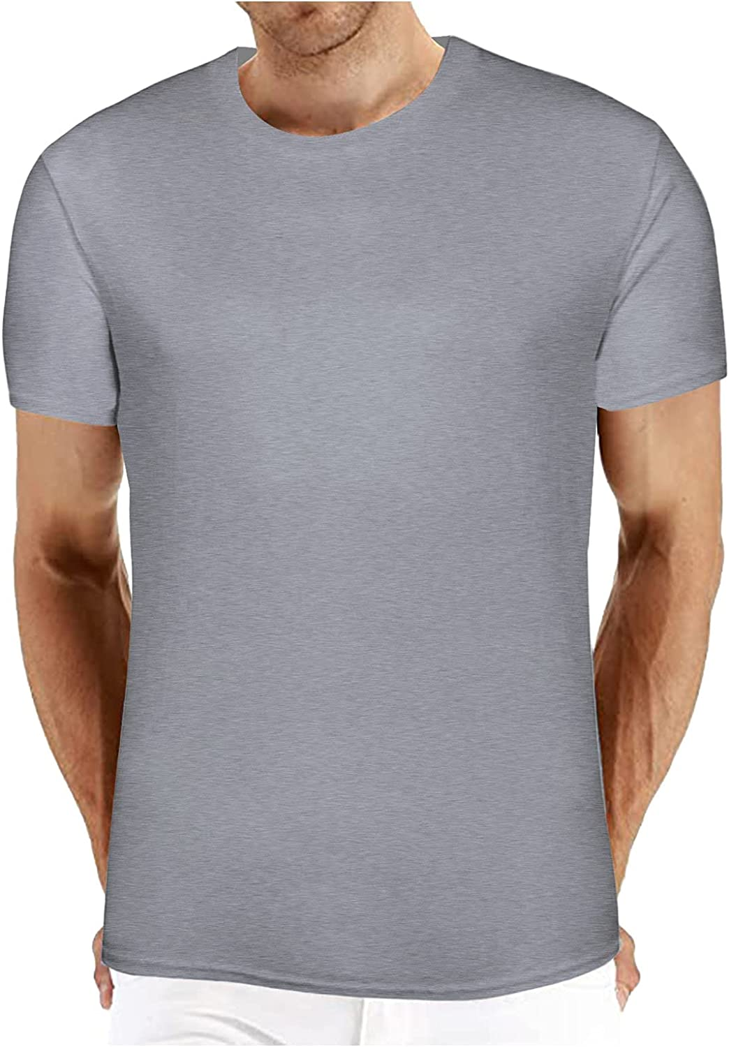 Mens Shirts Casual Summer Slim Fit Short Sleeve Solid Color Round Neck Basic T-Shirt Jacket Top