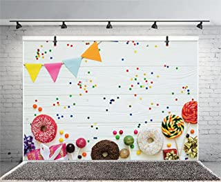 Leyiyi 5x3ft Photography Background Happy Birthday Backdrop Gifts Ribbon Donuts Lollipops Chocolate Sweet Banner Vintage Wooden Board Dessert Table Baby Shower Photo Portrait Vinyl Studio Prop