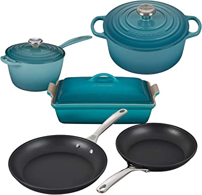 Le Creuset 8 Piece Multi-Purpose Enameled Cast Iron with SS Knobs, Stoneware, and Toughened Nonstick PRO Fry Pan Complete Cookware Set - Caribbean