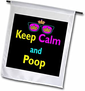 3dRose fl_116761_1 CMYK Keep Calm Parody Hipster Crown and Sunglasses Keep Calm and Poop Garden Flag, 12 by 18-Inch
