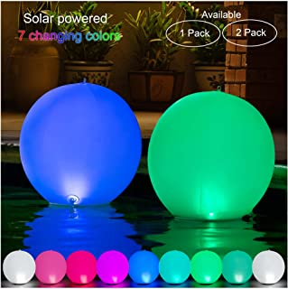 HAPIKAY 2019 Solar Floating Pool Lights - 14-inch Fun Vibrant Changing Colors Balls - Inflatable Floatable Hangable Wateproof - Pool Garden Backyard Christmas Decorations - Pack of 1 Ball