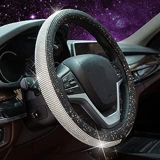 Steering Wheel Cover for Women, Sliver Bling Crystal Diamond Rhinestone Black Gold Leather Car Steering Wheel Cover for New Girl Universal 15 inch