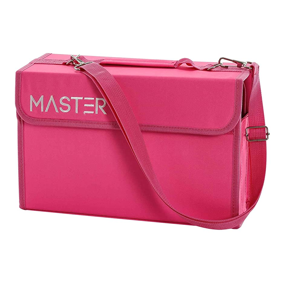 Universal Pink 80 Slot Premium Heavy-Duty Nylon Marker Storage Case with Shoulder Strap - Works with Lipstick, Prismacolor, Copic, Sharpie, and More (Pink)