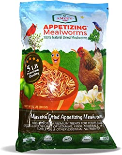 Appetizing Mealworms 5lbs-100% Non-GMO Dried Mealworms - High-Protein Meal Worm Treats -Perfect for Your Chickens,Ducks,Wild Birds,Turtles,Hamsters,Fish,and Hedgehogs …
