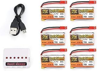 Ba30DEllylelly 6Pcs 3.7V 750mAh 30C JST Plug Lipo Batería Recargable con Cargador USB de batería 6 en 1 para RC Racing Dro...