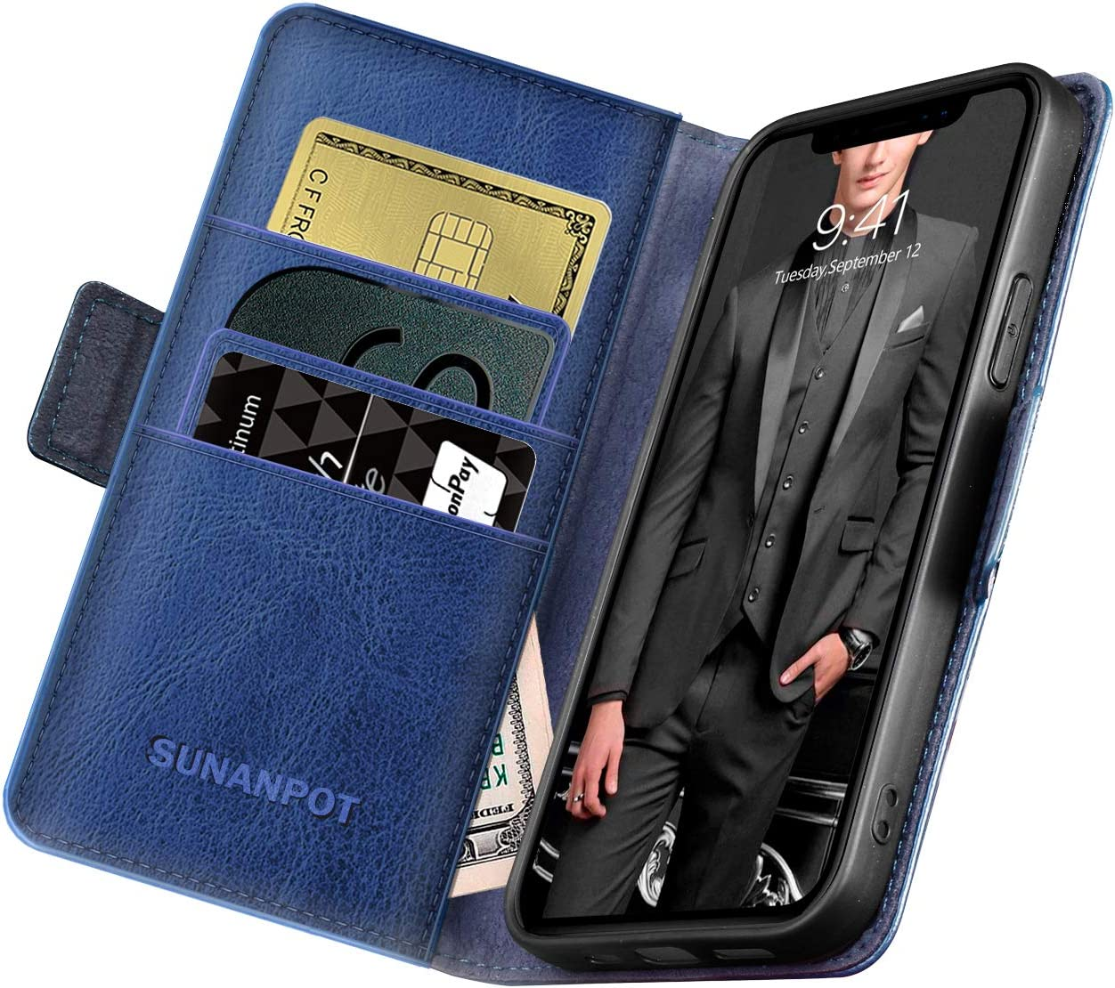 SUANPOT for iPhone 12/12 pro Genuine Leather Wallet Case with RFID Blocking for Men 6.1