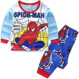 LINLIN Niños de Navidad Pijamas Set del niño de los niños del Hombre araña Ropa de Noche Juegos de impresión del algodón de Manga Larga Ropa de Dormir Ropa fijada,02-Kids 3XL(120~130cm)